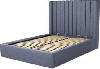 An Image of Custom MADE Cory Double size Bed with Ottoman, Denim Cotton