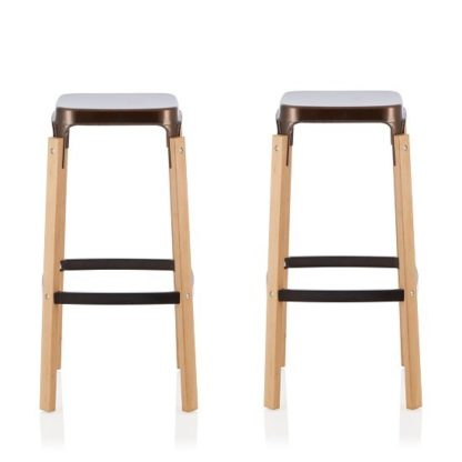 An Image of Hoker 76cm Bar Stools In Antique Bronze In A Pair