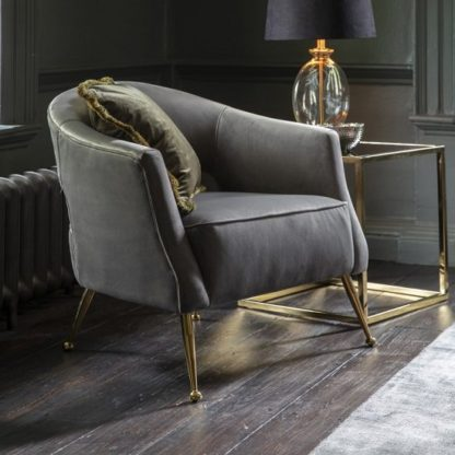 An Image of Gerania Velvel Arm Chair In Grey With Gold Metal Legs
