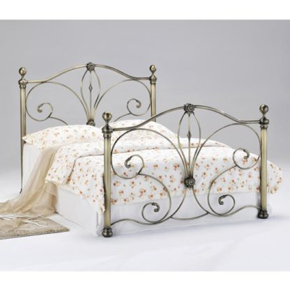 An Image of Diane Metal King Size Bed In Antique Brass