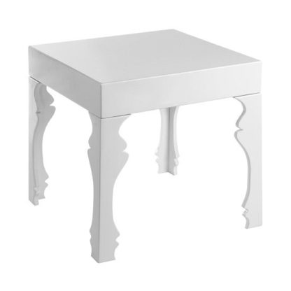 An Image of Louis Side Table Square In White High Gloss With 1 Drawer