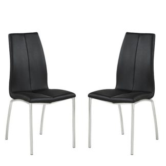 An Image of Opal Dining Chair In Black Faux Leather In A Pair
