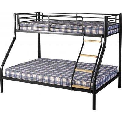 An Image of Toby Triple Sleeper Metal Bunk Bed in Black