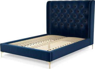 An Image of Custom MADE Romare Double size Bed, Regal Blue Velvet with Brass Legs