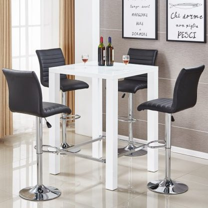 An Image of Jam Glass Bar Table Set In White Gloss 4 Ripple Black Stools