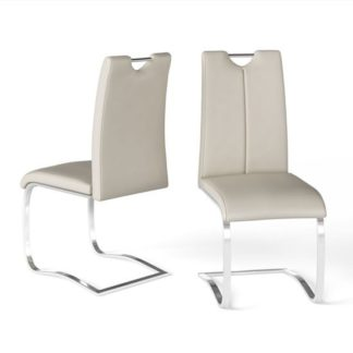 An Image of Gabi Cream Faux Leather Dining Chair In A Pair