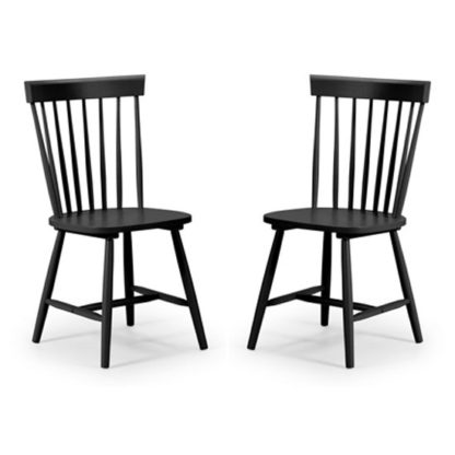 An Image of Torino Black Lacquer Dining Chairs In Pair