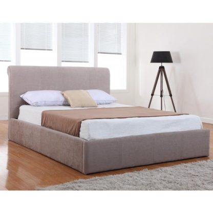An Image of Carrie Chenille Fabric Storage King Size Bed In Mink