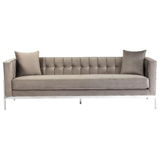 An Image of Minchir Velvet 3 Seater Sofa In Grey
