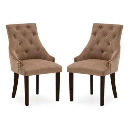An Image of Vanille Velvet Dining Chair In Cedar With Wenge Legs In A Pair