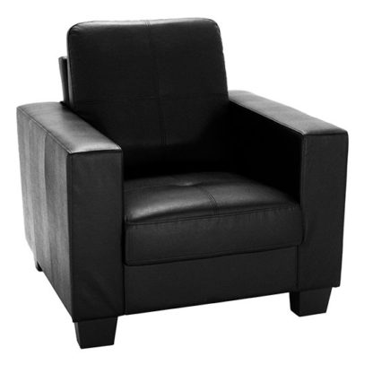 An Image of Lena Leather And PVC Bonded 1 Seater Sofa In Black