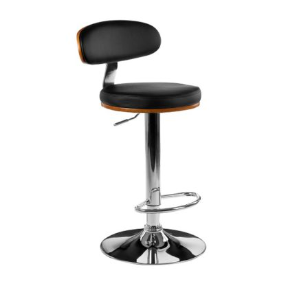 An Image of Crofton Bar Stool In Black Faux Leather With Chrome Base