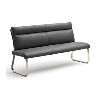 An Image of Rabea Fabric Small Dining Bench In Grey With Steel Frame