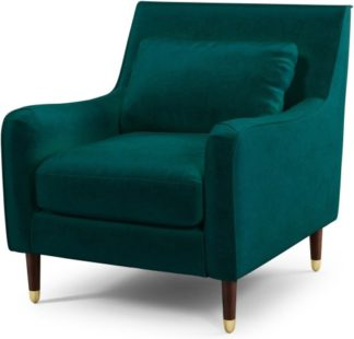 An Image of Content by Terence Conran Oksana Armchair, Plush Mallard Velvet with Dark Wood Brass Leg