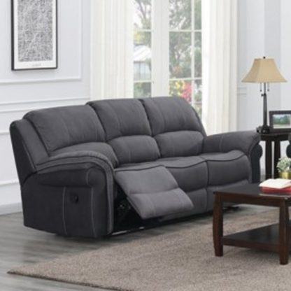 An Image of Koeia Fabric 3 Seater Sofa In Grey Fusion