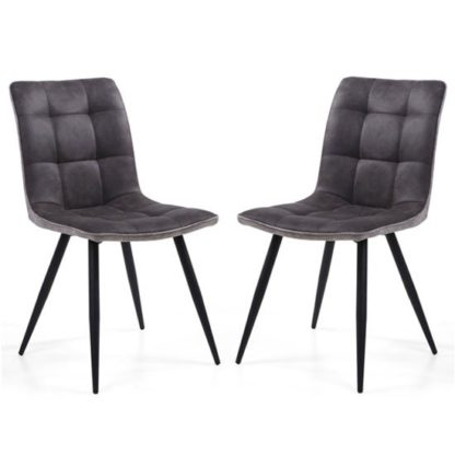 An Image of Rodeo Dark Grey Suede Effect Dining Chair In A Pair