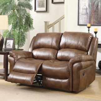 An Image of Claton Recliner 2 Seater Sofa In Tan Faux Leather
