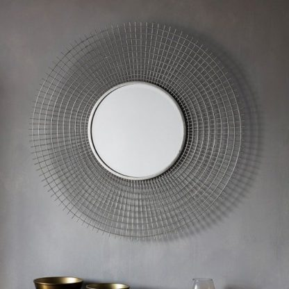 An Image of Antila Modern Wall Mirror Round In Silver