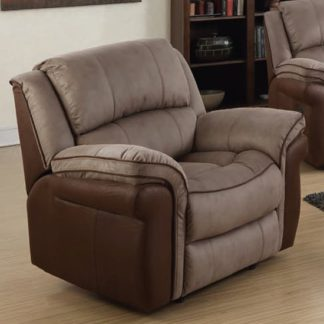 An Image of Lerna Fusion Lounge Chaise Armchair In Taupe And Tan