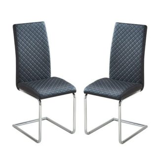 An Image of Ronn Dining Chair In Black Faux Leather In A Pair