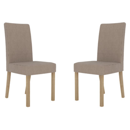 An Image of Melodie Beige Dining Chairs In Pair