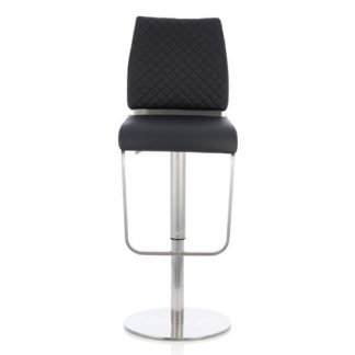 An Image of Lillian Bar Stool In Black Faux Leather And Stainless Steel Base