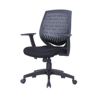 An Image of Lemaire Office Chair In Black Finish With Plastic Backrest
