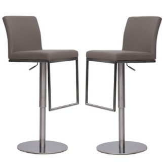 An Image of Bahama Bar Stools In Taupe Faux Leather In A Pair