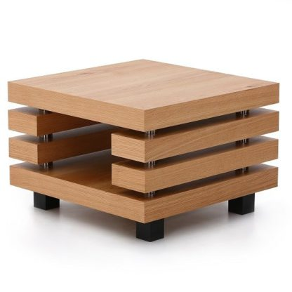 An Image of Fillippo Wooden Lamp Table Square In White Oak