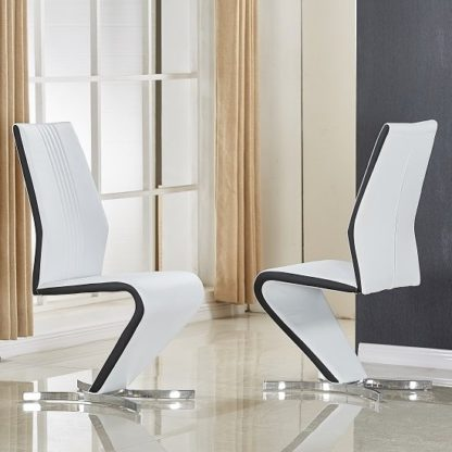 An Image of Gia Dining Chair In White And Black Faux Leather In A Pair