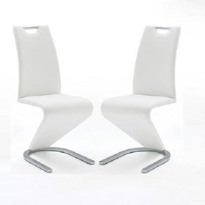 An Image of Amado Z Dining Chair In White Faux Leather in A Pair