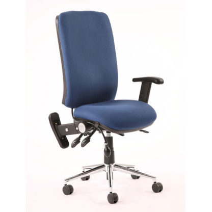 An Image of Chiro Fabric High Back Office Chair In Blue With Folding Arms