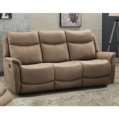 An Image of Arizona Fabric 3 Seater Fixed Sofa In Caramel