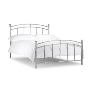 An Image of Chanties Metal King Size Bed In Bright Aluminium Finish