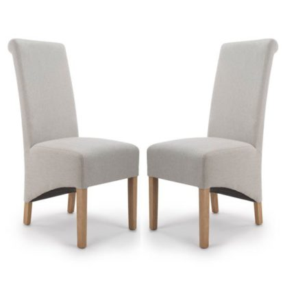 An Image of Krista Cappuccino Herringbone Plain Dining Chair In A Pair