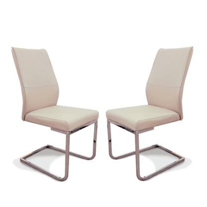 An Image of Presto Dining Chair In Taupe Faux Leather In A Pair