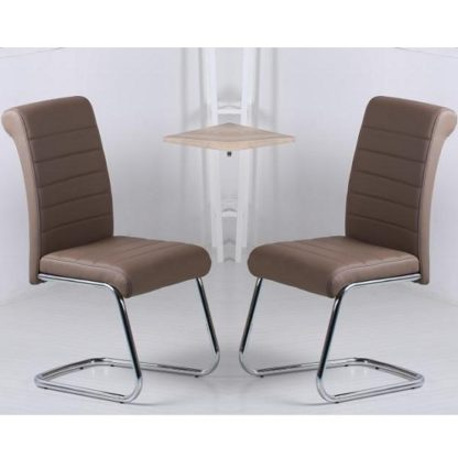 An Image of Aaden Dining Chairs In Brown Faux Leather In A Pair