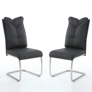 An Image of Aston Modern Dining Chair In Dark Grey Fabric In A Pair