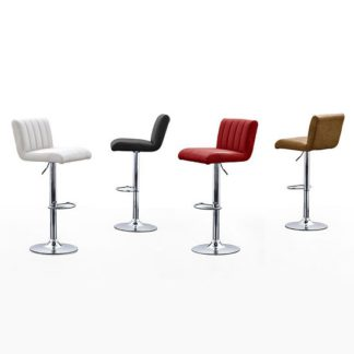 An Image of Cool Ribbed Bar Stool In Black Faux Leather With Chrome Base