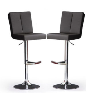 An Image of Bruni Bar Stools In Black Faux Leather in A Pair