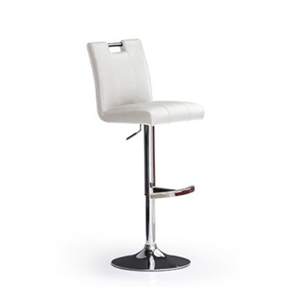 An Image of Casta White Bar Stool In Faux Leather With Round Chrome Base