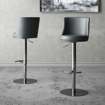 An Image of Bruno Grey Faux Leather Gas-lift Bar Stools In Pair