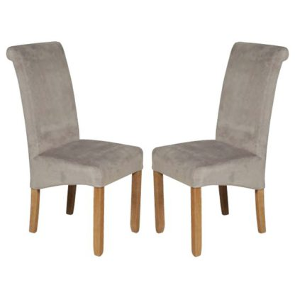 An Image of Sika Grey Velvet Dining Chair In Pair