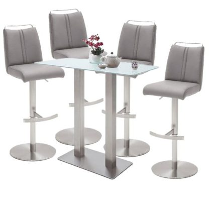An Image of Soho White Glass Bar Table With 4 Giulia Ice Grey Leather Stools