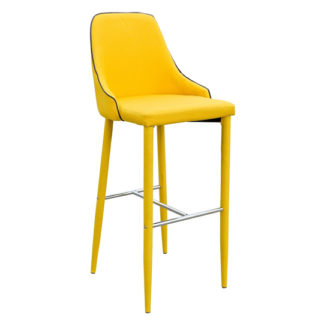 An Image of Duncan Yellow Fabric Bar Stool With Metal Foot Rest