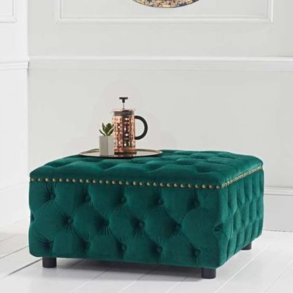 An Image of Aniara Velvet Square Footstool In Green