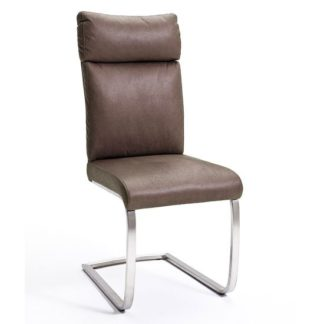 An Image of Rabea Fabric Dining Chair In Brown