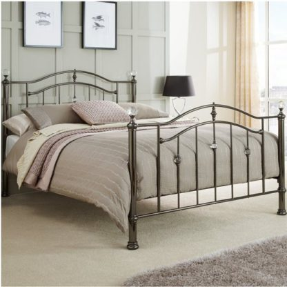 An Image of Ashley Metal Small Double Bed In Black Nickel