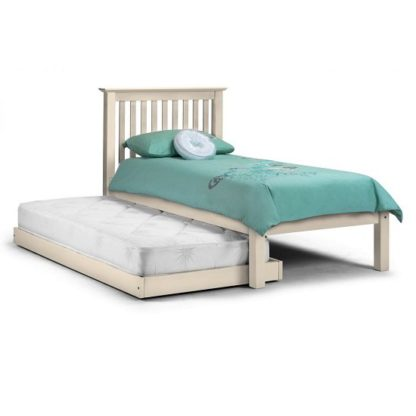 An Image of Velva Wooden Hideaway Single Bed In Stone White Lacquer
