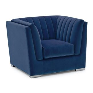 An Image of Flores Fabric Sofa Chair In Blue Velvet With Chrome Legs
